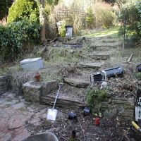 A garden in a state of disrepair before being redesigned and landscaped by Country Lane Landscapes